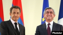 Armenia - Serzh Sarkisian, President of Armenia, and Nicolas Sarkozy, President of France, at a joint press conference in Yerevan, 07Oct2011