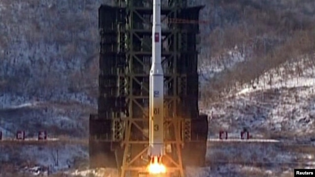 The Unha-3 (Milky Way 3) rocket launches at the West Sea Satellite Launch Site in NOrth Korea's Pyongan Province.