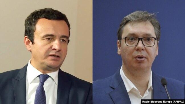 Kosovar Prime Minister Albin Kurti (left) and Serbian President Aleksandar Vucic in a combo photo