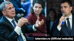 Президент Татарстана Рустам Минниханов (слева), министр по делам молодежи РТ Дамир Фаттахов (справа)