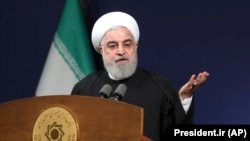 Iranian President Hassan Rouhani speaks before the heads of banks, in Tehran, January 16, 2020