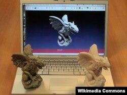 Шынайы зат пен оны сканерлегеннен кейінгі 3D форматтағы кейпі. Көрнекі сурет