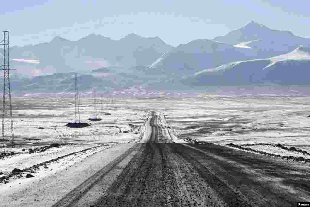 The road to the Kumtor gold mine, which lies in the Tien Shan Mountains