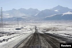 The road to the Kumtor gold mine in Kyrgyzstan's Tien Shan Mountains