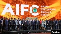 Нурсултан Назарбаев в бытность президентом Казахстана на церемонии открытия Международного финансового центра «Астана» (МФЦА) в столице. 5 июля 2018 года.