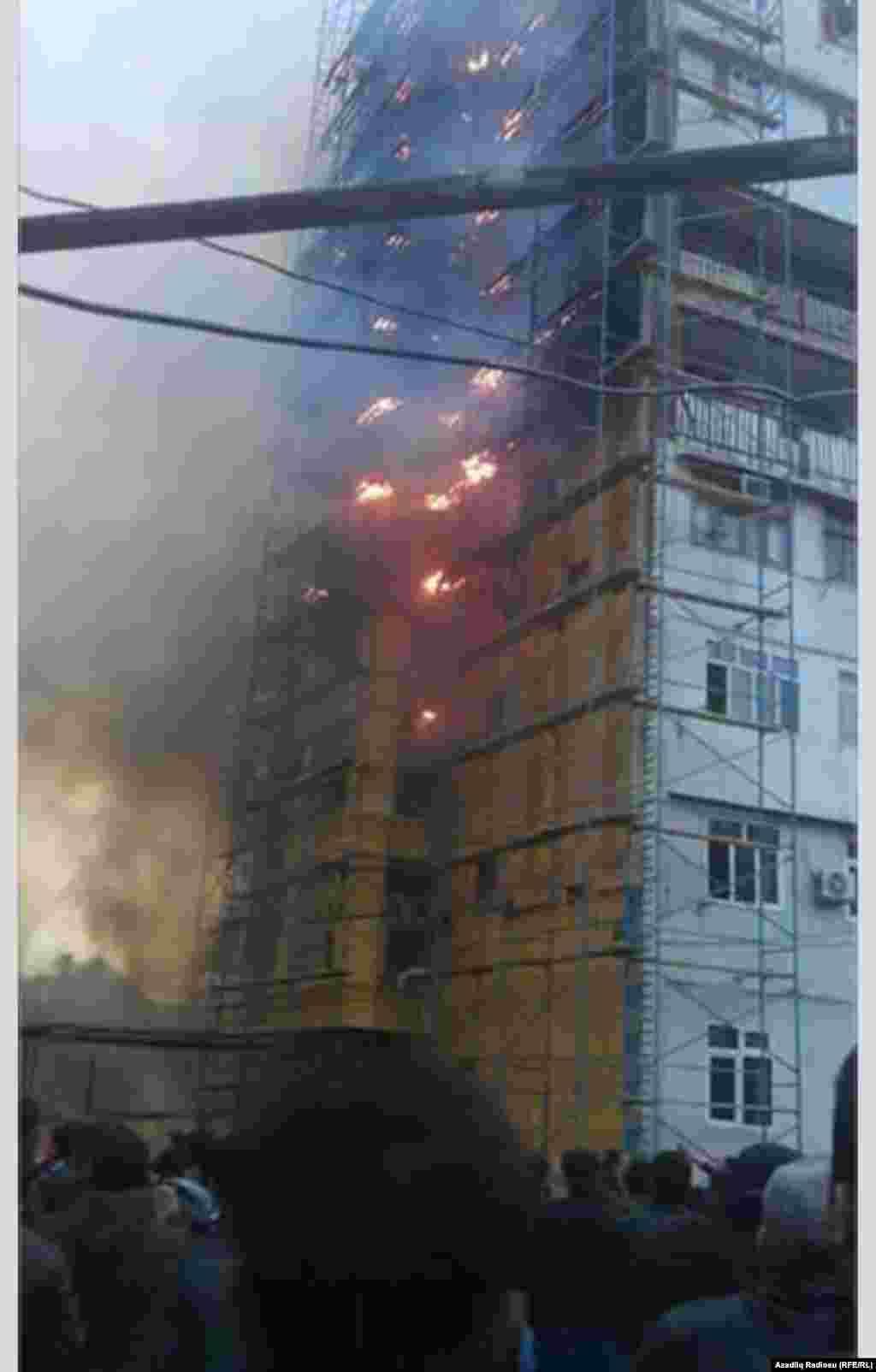 Azerbaijan - Building in fire