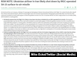 Звіт аналітичної компанії IHS Markit про падіння українського літака в Ірані
