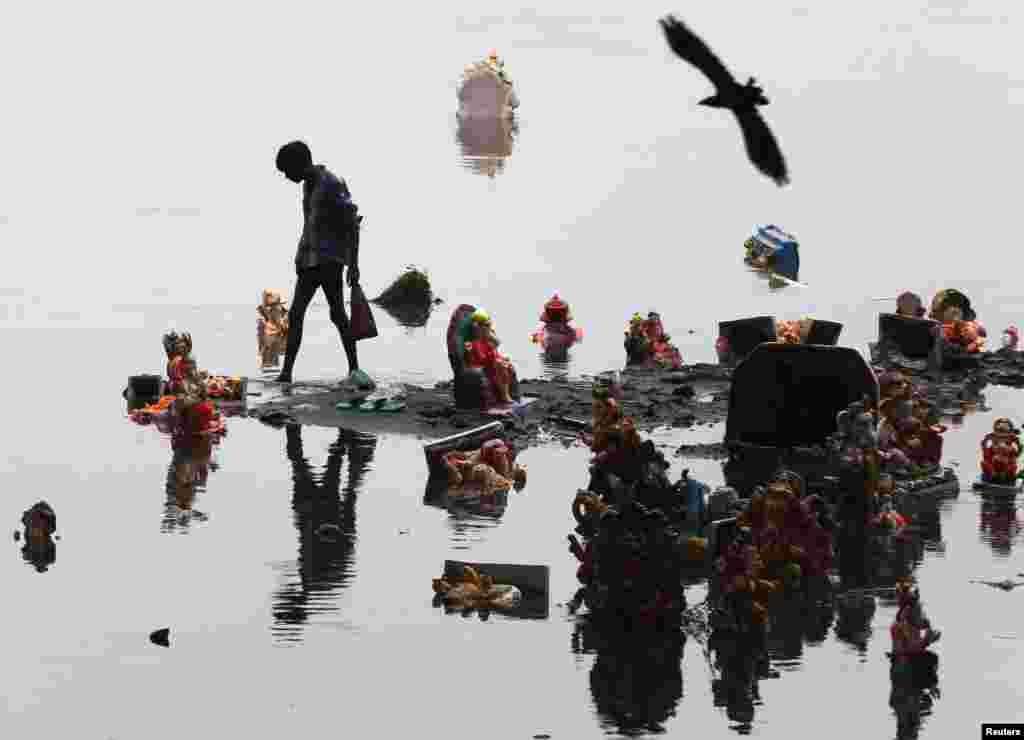 A boy collects items thrown by devotees as religious offerings next to idols of the Hindu elephant god Ganesh, the deity of prosperity, a day after they were immersed in the waters of the Sabarmati River in the western Indian city of Ahmedabad. (Reuters/Amit Dave)