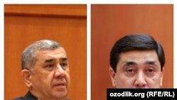 Жаңы дайындалган башкы прокурор Нигматулла Юлдашев жана мурдагы экс-башкы прокурор Отабек Муродов.