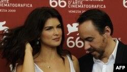 Romanian actress Monica Birladeanu and director Bobby Paunescu at the Venice Film Festival