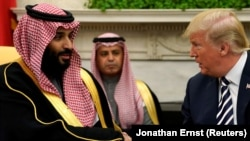 "U.S. President Donald Trump U.S. President Donald Trump (right) discussed ways of ""maintaining maximum pressure against Iran."" with Saudi Arabia's Crown Prince Mohammed bin Salman. (left)"
