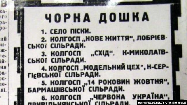 Села, які потрапили на «Чорну дошку». Їхні списки публікували теж і у газетах