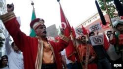 Акция протеста в Стамбуле против голосования в парламенте Германии, признавшем «геноцид армян», 2 июня 2016 года.
