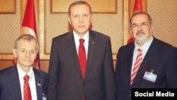 Президент Турции Реджеп Тайип Эрдоган и лидеры крымских татар – Мустафа Джемилев и Рефат Чубаров