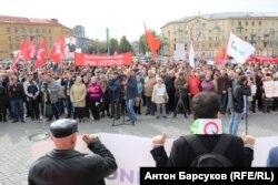 Акция протеста против пенсионной реформы в Новосибирске