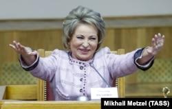 "Duma speaker Valentina Matviyenko: Putin has ""raised Russia from its knees."""