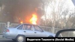 Фото с места пожара в автобусе. Ташкент, 26 февраля 2016 года.