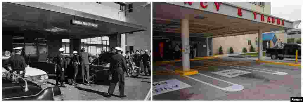 Left photo: U.S. Secret Service agents and local police examine the presidential limousine as it sits parked at Parkland Memorial Hospital in Dallas, Texas, on November 22, 1963. Right photo: The same parking area for ambulances on November 9, 2013.