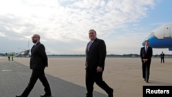 U.S. Secretary of State Mike Pompeo arrives at Tegel airport in Berlin, Germany May 31, 2019. REUTERS/Fabrizio Bensch