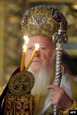 Ecumenical Patriarch Bartholomew I of Constantinople leads the Divine Liturgy at the St. George church in Istanbul on November 30.