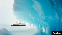 "The ""MV Akademik Shokalsky"" became stuck in Antarctic ice on December 24."