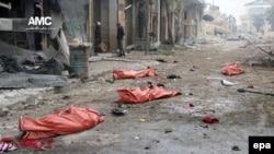 Мертвые тела на улице в Восточном Алеппо, 30 ноября 2016