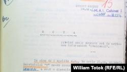 Pagină din dosarul Iovanelli păstrat la CNAS