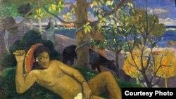 Картина из экспозиции Галереи искусства стран Европы и Америки XIX-XX веков: Поль Гоген. Королева. (Жена короля), 1896г.