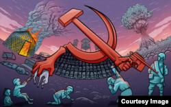 Рисунок с серпом. Зикибай считает, что сегодня наблюдается романтизация сталинизма. Люди забыли, что сталинизм уничтожил миллионы казахов, хотя при этом советский народ победил во Второй мировой войне.