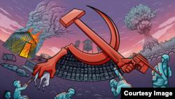 Орақ пен балға, совет дәуірі туралы сурет. Ерден Зікібай бір заманда миллиондаған қазақтың ажалына себеп болған сталинизмді дәріптейтіндер қазір де барын айтады.