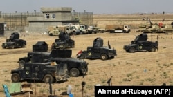 Iraqi forces gather in the area of Taza Khurmata on the southern outskirts of Kirkuk on October 15.
