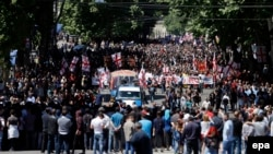 Thousans of antigay activists marched in Tbilisi on May 17.