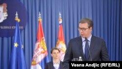 Aleksandar Vuçiq gjatë konferencës së sotme për shtyp në Beograd