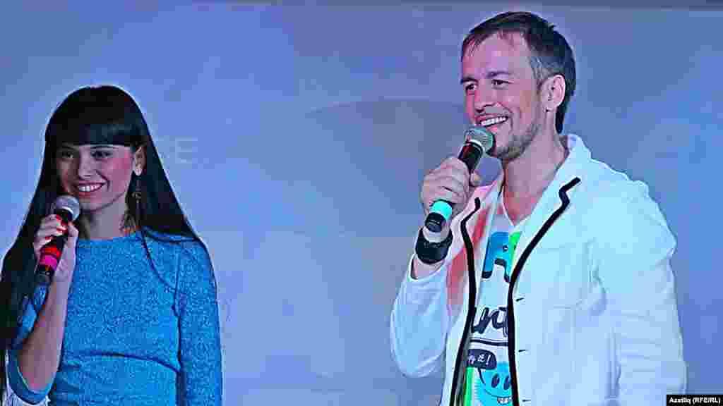 """TatarStar"" кичәсенең алып баручылары Луиза Әмирова һәм Салават Миңнеханов."
