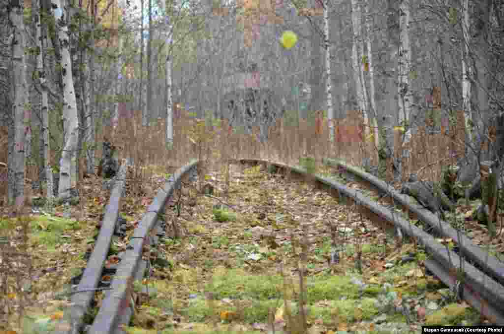 Railway sleepers to nowhere in the Siberian taiga