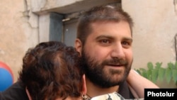 Arman Babajanian on his release from a Yerevan prison on August 4.