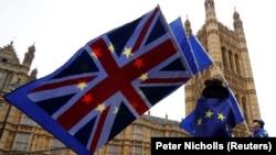 Участники протеста против выхода Британии из ЕС.