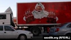 Uzbekistan - Coca Cola truck in Tashkent, 15 December 2012