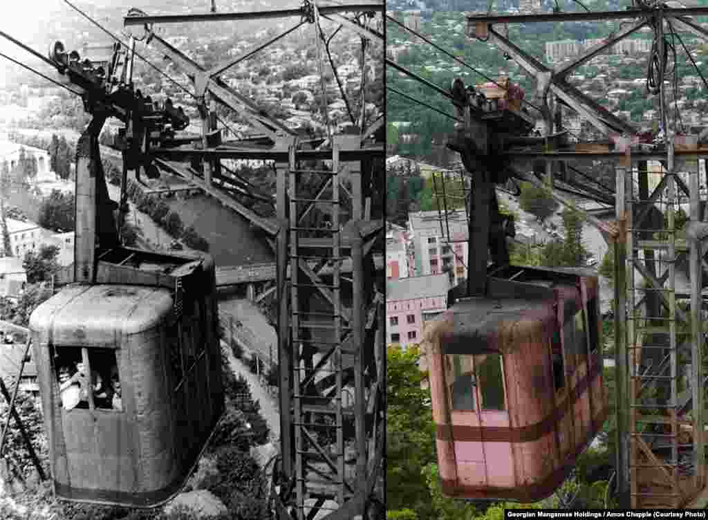 A photo of Tramway 25 from the 1950s (left) alongside a current picture. (Photo courtesy of Georgian Manganese Holdings)