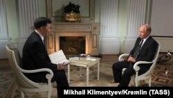 Фотографија од интервјуто на Путин за кинеската државна телевизија