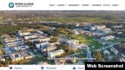 Бурса Улудағ университети сайтидан скриншот.