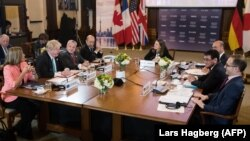 The G7 foreign ministers hold a working session in Toronto on April 22.