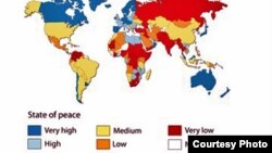 World -- The 2011 Global Peace Index map