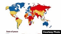 The 2011 Global Peace Index map