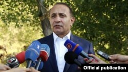 Armenia - Prime Minister Hovik Abrahamian talks to journalists during a working visit to Gegharkunik region, 02Aug,2014