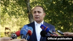 Armenia - Prime Minister Hovik Abrahamian talks to journalists during his working visit to Gegharkunik region, 02Aug,2014
