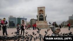 Площадь Таксим в Стамбуле, на которой собрались протестующие.