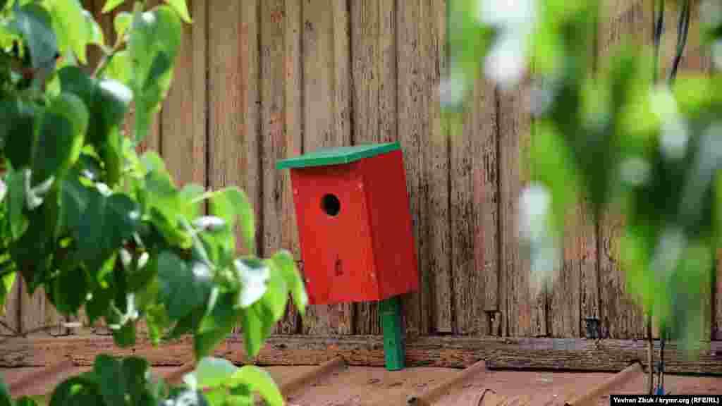 Ярко-красный скворечник в одном из сельских дворов