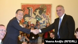 Serbian President Tomislav Nikolic (left) with visiting UN Secretary-General Ban Ki-moon