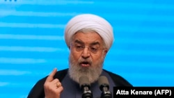 Iranian President Hassan Rohani gives a speech in the city of Tabriz on April 25, 2018.